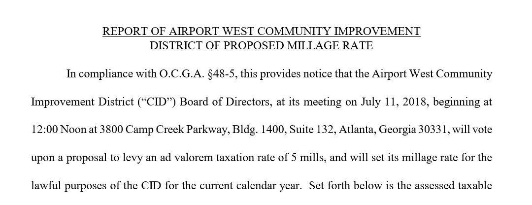 Report of Airport West Community Improvement District of Proposed Millage Rate