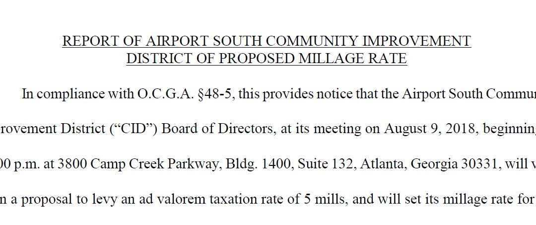 Report of Airport South Community Improvement District of Proposed Millage Rate